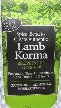 Spice Kitchen Lamb Korma Curry spice pack